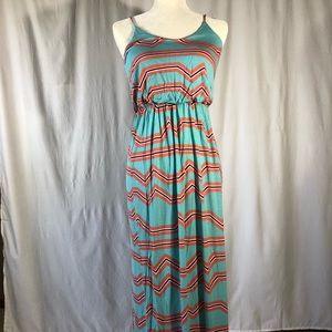 Lush Aqua and Orange Geometric Print Maxi Dress